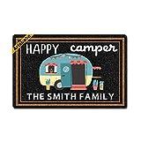 Artsbaba Doormat Happy Camper RV Door Mat Monogram Non-Slip Doormat Non-Woven Fabric Floor Mat Indoor Entrance Rug Decor Mat 23.6 x 15.7 Inches