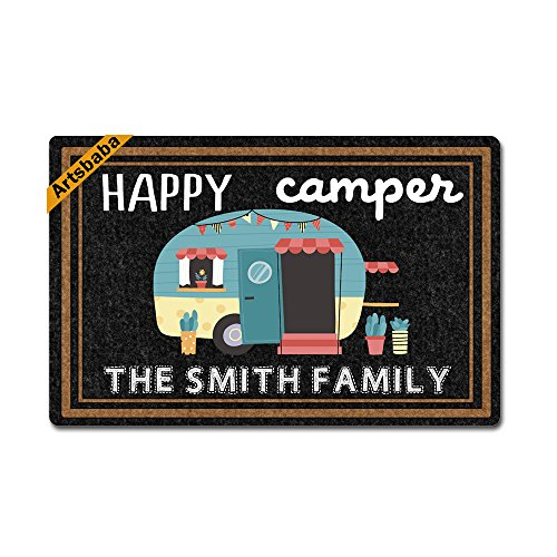 Artsbaba Doormat Happy Camper RV Door Mat Monogram Non-Slip Doormat Non-Woven Fabric Floor Mat Indoor Entrance Rug Decor Mat 23.6 x 15.7 Inches (Mat Camper For Door)
