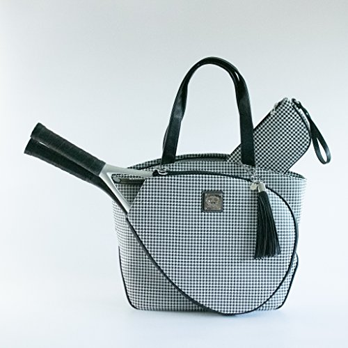 Court Couture Cassanova Houndstooth Tennis Bag in Black