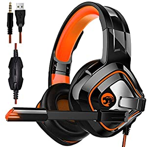 STOGA Gaming Headset with Stereo Surround Sound, USB Wired PC Gaming Headphone Super Bass Noise Cancelling Over Ear Earphone with Mic-Phone and Colorful Breath Light Compatibility with Xbox One,PS4
