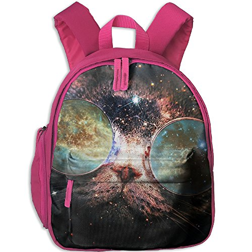 Galaxy Cat Sunglasses Universe Kids School Backpack Bag Have Double Zipper - Pitt With Glasses Brad