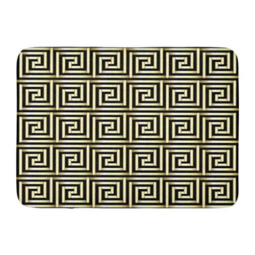 - Kuytresdf Doormats Bath Rugs Outdoor/Indoor Door Mat Abstract Greek Key Pattern in Gold Antique Blackbackground Border Bathroom Decor Rug 16