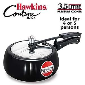 Hawkins Contura Aluminium Hard Anodised Pressure Cooker, 3.5 Litres, Black
