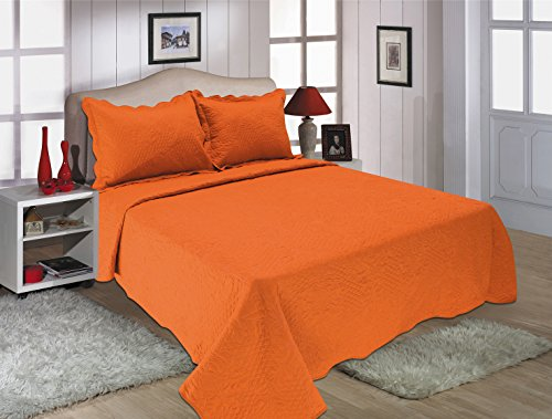 All for You 2PC Reversible Quilt set, Bedspread and Coverlet-orange color (orange, twin) (Twin Orange Quilt)