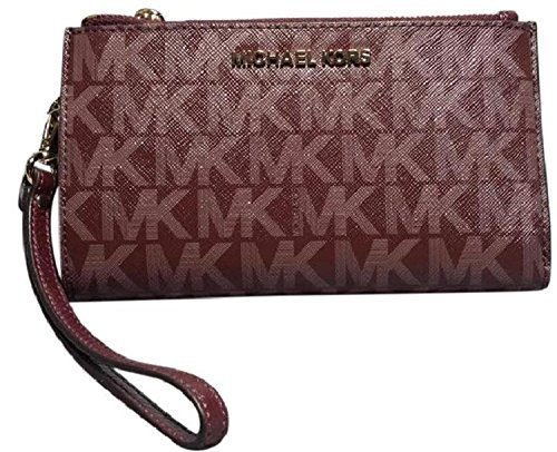 cdd1064ab53f Michael Kors Jet Set Travel Double Zip Wristlet (Merlot) by Michael Kors