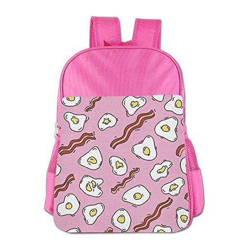 Children's Schoolbag Breakfast Pattern Fried Eggs Bacon Shoulders Bag Light Weight Backpack Satchel Pink