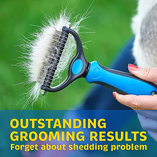 Thstheaven Pet Grooming Brush & Nail Clippers Trimmers - Double Sided Shedding and Dematting Undercoat Rake Comb for Dogs and Cats - Safe Dematting Comb for Easy Mats & Tangles Removing (Blue)