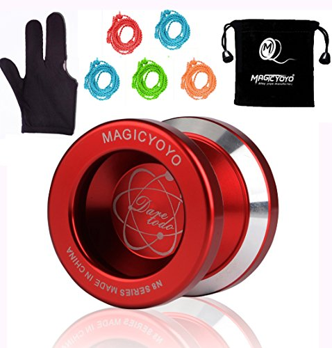 Price comparison product image MAGICYOYO N8 Unresponsive YoYo with Gift Glove + Yoyo Bag + 5 Yoyo Replacement Strings -Red