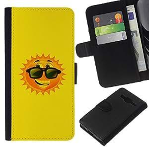 KLONGSHOP // Tirón de la caja Cartera de cuero con ranuras para tarjetas - Sun feliz verano de dibujos animados gafas de sol - Samsung Galaxy Core Prime //
