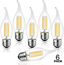 B11 Flame Tip LED Filament Bulbs E26 Candelabra Base,WJDH 4.5W(40W Equivalent) Dimmable 3000K Soft White Chandelier Candle Light Bulb, Pack of 6