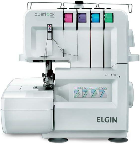 Maquina de Costura Overlock 1000, 110V, Portátil, Versátil, Elgin, Branco por Elgin