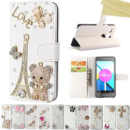 Google Nexus 5X Cases, LG Nexus 5X Cases, AMASELL AMASELL Handmade Bling Crystal Diamond Flip Folio [Kickstand Series] PU Leather Wallet case for Nexus 5X 5.2 inches, Bear Tower