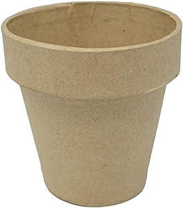 Homeford Mini Paper Mache Clay Pot, Natural, 3-1/8-Inch