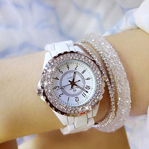 GUOZBIAOA Reloj De Dama Nuevas Mujeres Rhinestone Relojes Lady Diamond Stone Vestido Reloj Negro Blanco Cerámica Gran Dial Pulsera Reloj De Pulsera Reloj De Cristal