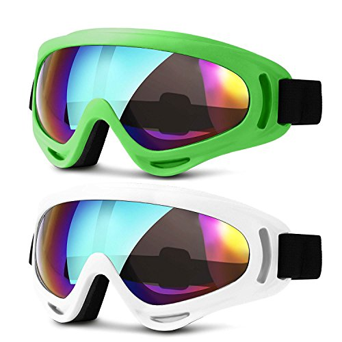 Ski Goggles, Updated Snowboard Goggles for Kids Men Women Boys & Girls UV 400 Protection Windproof Anti-Glare Goggles for Skiing Snowmobile Motorcycle Bicycle, Heeta (green & - Goggles Cycling Best