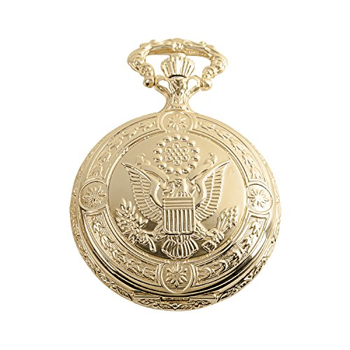 Daniel Steiger American Eagle Luxury Vintage Hunter Pocket Watch with Chain - 18k Gold Plating - Hand-Made Hunter Pocket Watch - Engraved Flying Eagle Design - White Dial with Black Roman Numerals (White White Gold Watch Pocket)