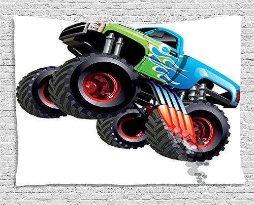Ambesonne Cars Tapestry, Cartoon Monster Truck Cool Vehicle Modified to The Perfection Colorful Design, Wall Hanging for Bedroom Living Room Dorm, 80 W X 60 L Inches, Aqua Green Black