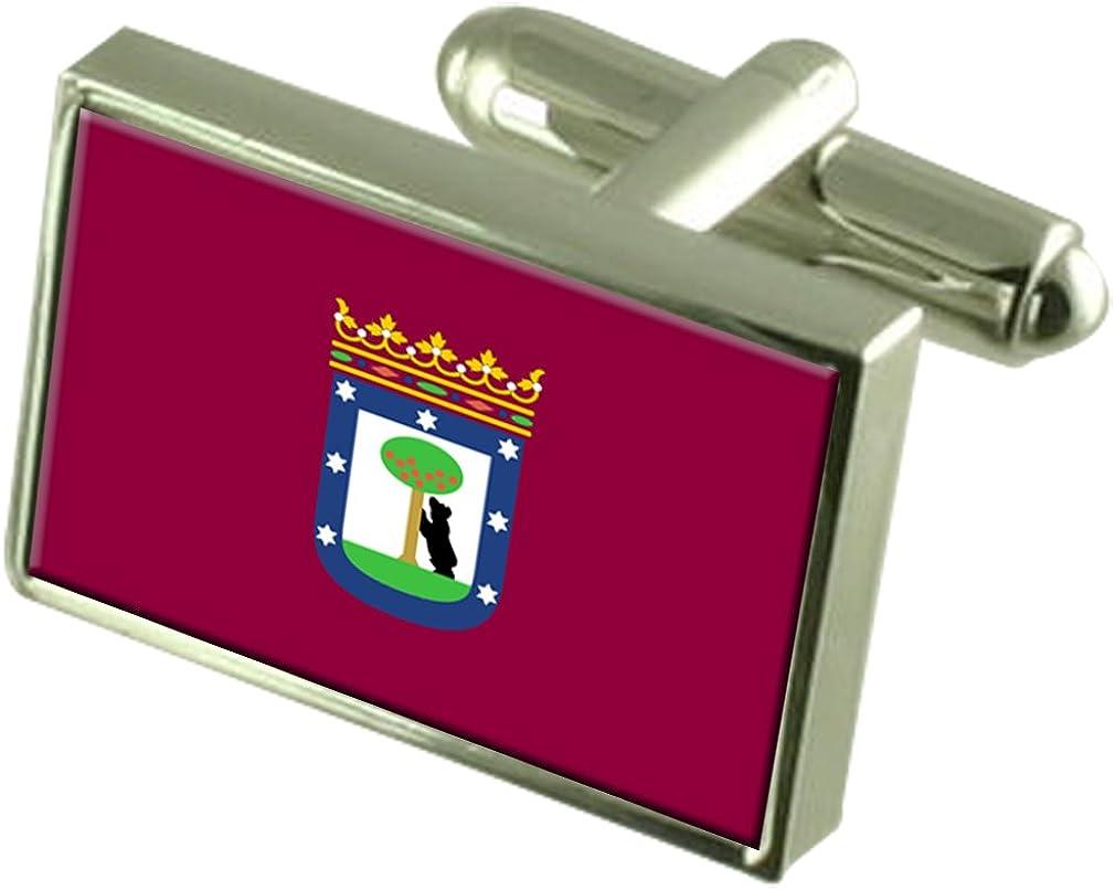 Madrid City Spain Sterling Silver Flag Cufflinks Engraved Box