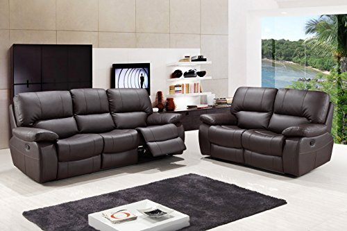 Blackjack Furniture 9389-BROWN-2PC Modern Italian Leather Sofa and Loveseat Set, Brown ()