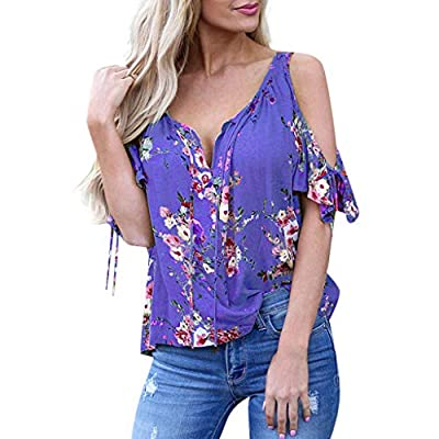 WILLTOO???? Boho Sexy Women Tops, Off-Shoulder Floral Print T-Shirt Low Neck Blouse Shirt (Blue,Pink,Green,Purple)