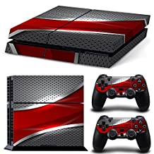 Ps4 Playstation 4 Console Skin Decal Sticker Red & Chrome + 2 Controller Skins Set