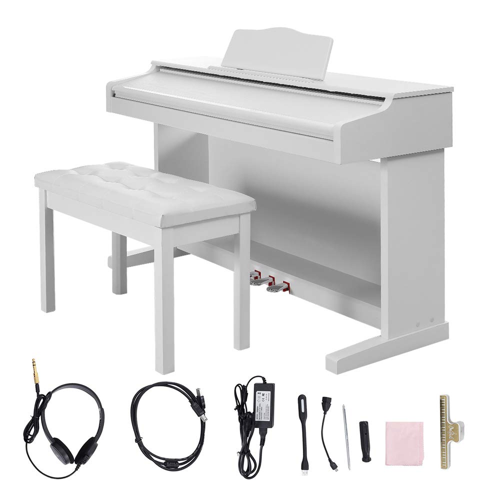 Digital Piano,Les Ailes de la Voix 88 Key Electric Piano Portable for Beginner Adults with 3 Pedal Board,Music Stand,Power Adapter, Headphone,Instruction Book White by LES AILES DE LA VOIX