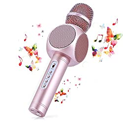 Fede Bluetooth Karaoke MicrophoneThe microphone has three layers of filter headwhich can greatly reduce the noise produced when singing.Truly 3-in-1 technology, it can be used as wireless microphone and Bluetooth speaker, also can record songs throug...