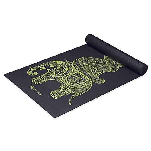 Elephant Mat - Gaiam Premium Print Yoga Mat, Extra Thick Non Slip Exercise & Fitness Mat for All Types of Yoga, Pilates & Floor Exercises, Tribal Wisdom Elephant, 5/6mm