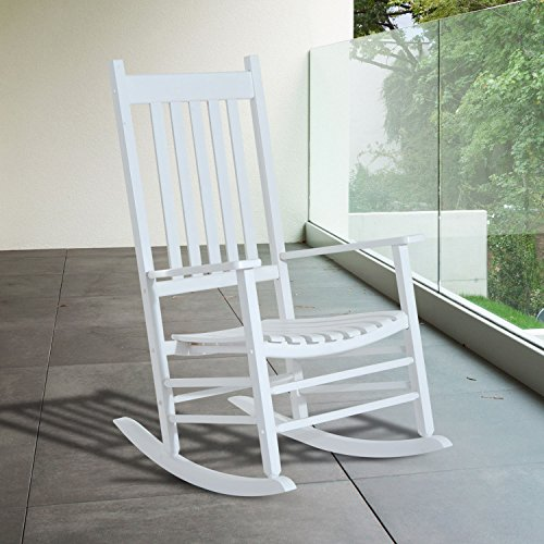 NEW White color, Wooden Rocking Chair Porch Rocker Balcony Deck Outdoor Garden Seat Living Room