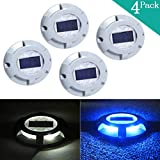 Solar LED Dock Lights- Decorative Aluminum Marker Lamps- Wireless Outdoor Weatherproof Security Warning Light- Garden Decor Accent Lighting- Best for Stairway Path Step Pool Patio(4Pack,Blue)