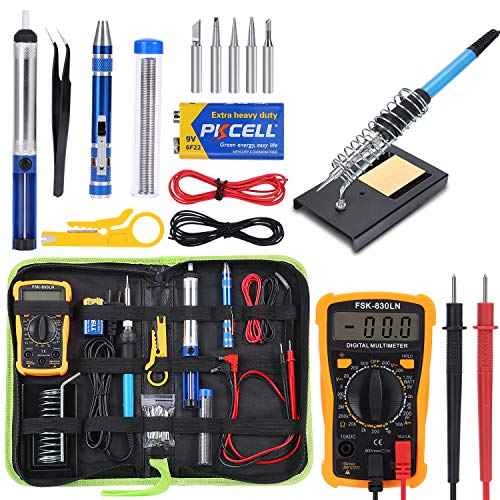 Soldering Iron Kit Electronics, 60w Adjustable Temperature Soldering Iron, Digital Multimeter, 2pcs Soldering Iron Tips, Desoldering Pump, Wire Stripper Cutter, Tweezers, Soldering Iron Stand