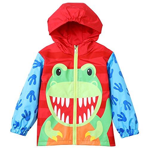 Sidkk Little Girls Raincoat Cute Pattern Hoodies Waterproof Rain Jackets