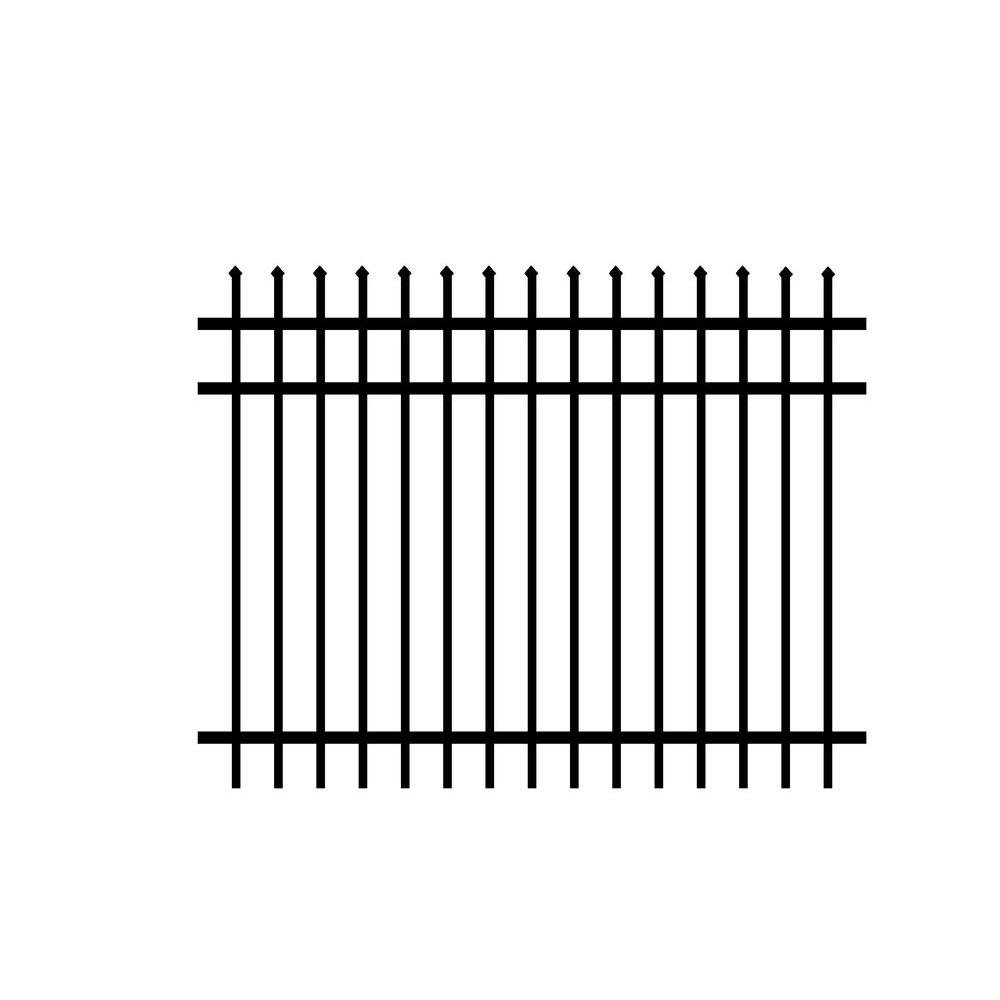 Fence Panel (4-Pack) 3-Rail Worthington Design Unassembled, Black Aluminum, Ideal for Fencing in Yards