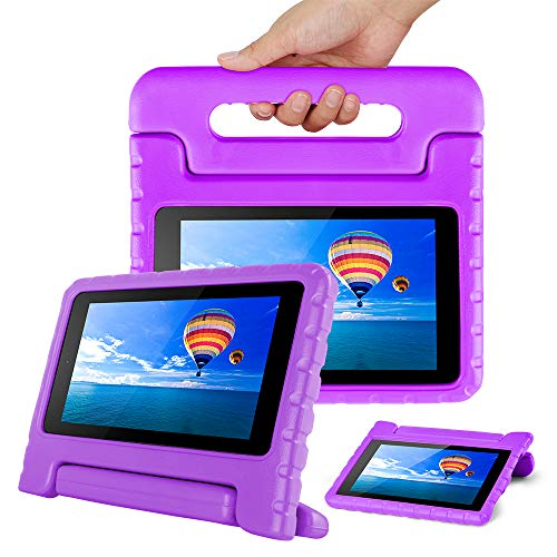 CAM-ULATA Compatible with Amazon Fire 7th 5th Generation Case for Kids 2017 2015 Kids Proof Shock Proof with Handle Kindle 7 inch Cover - Purple Case 7 Tablet Inch