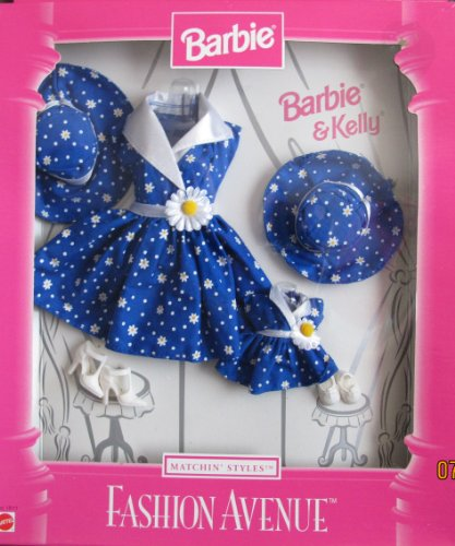 Barbie & Kelly Matchin' Styles Fashion Avenue DAISY Pattern Outfits (1998) by Barbie
