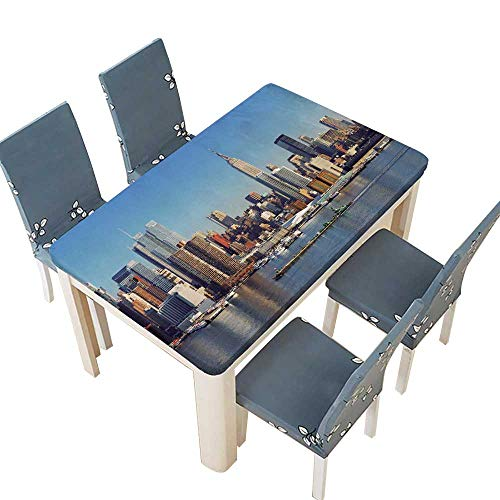 (PINAFORE Natural Tablecloth Urban City Skyline Manhattan with Empire State Building for Home Use, Machine Washable W57 x L96.5 INCH (Elastic Edge))