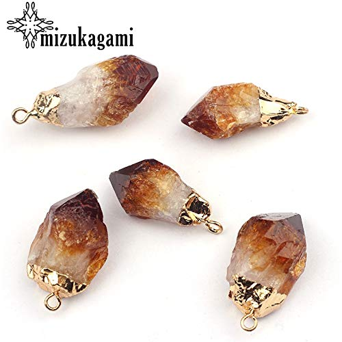 Laliva 3012MM Trendy Natural Stone Charms Pendant Brown Multiple Shape Necklace Jewelry Making for Women Brown Stone Outdoor Pendant