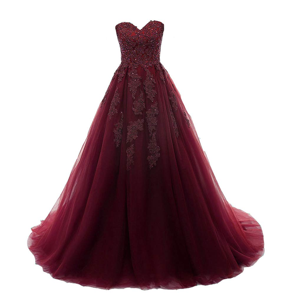 B Burgundy Kivary Women Beaded Lace Appliques Long Formal Ball Gowns Prom Evening Dresses