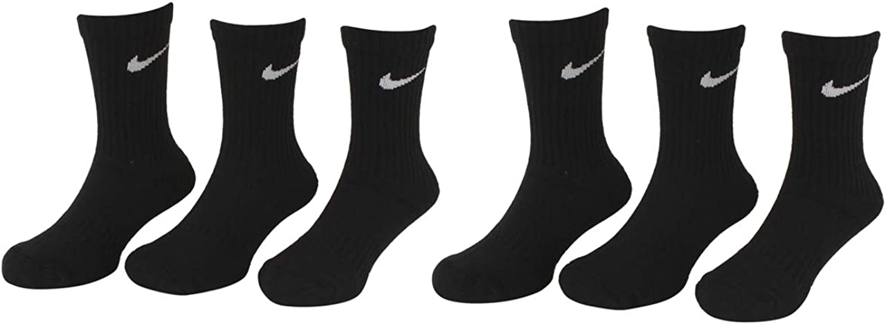 5-7 Fits 10C-3Y Nike Little Boys 6-Pairs Young Athletes Black Crew Socks Sz