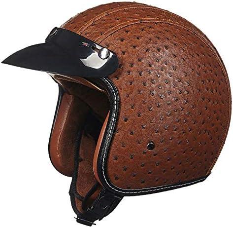 ZJJ ヘルメット- オートバイの半分覆われたヘルメット、春と秋のシーズンパーソナリティレザーヘルメット、レトロなヘルメット (色 : Brown, サイズ さいず : L l)