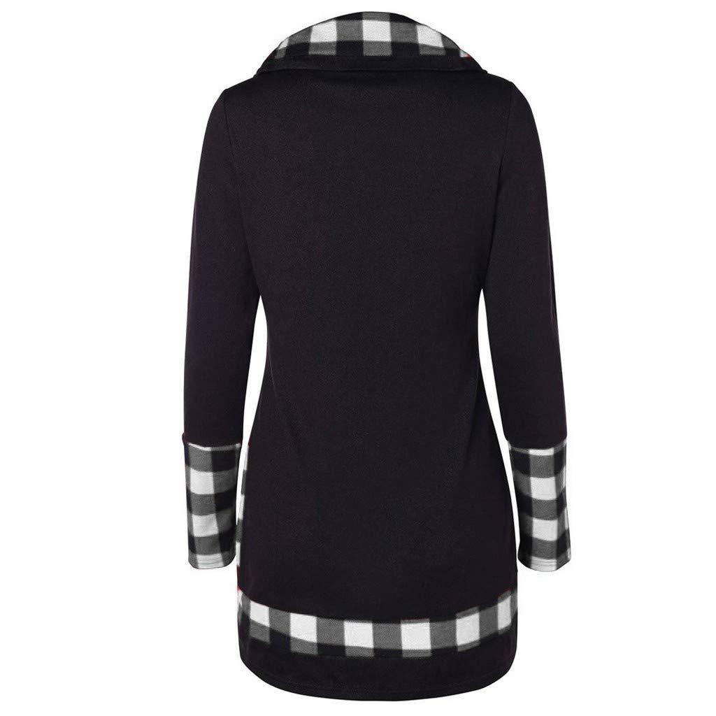 5bca72835e7 TWGONE Tartan Panel Long Sleeve Asymmetrical T-Shirt for Women Blouse Plaid Turtleneck  Sweatshirt Tops at Amazon Women s Clothing store