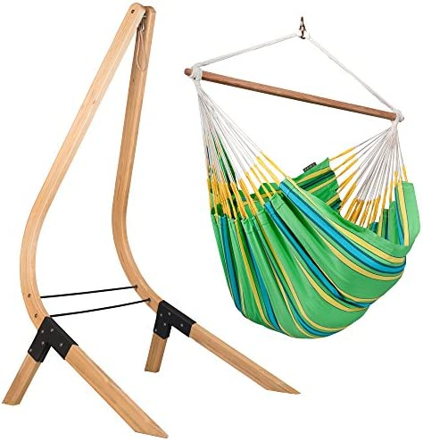 LA SIESTA Currambera Kiwi – Cotton Lounger Swing Hammock Chair with FSC Certified Spruce Stand