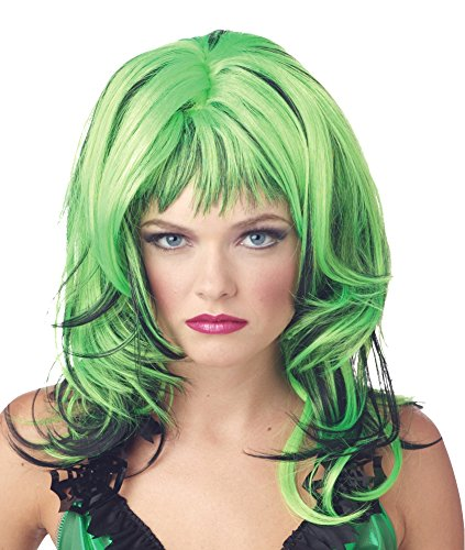 Rockin' Witch Adult Costumes (Costume-Wig Hard Rockin Witch Black Green Halloween Costume - 1 size)