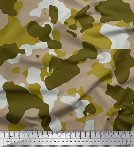 Soimoi Green Modal Satin Fabric Two Tone with White Camouflage Print Fabric by Yard 42 Inch Wide -