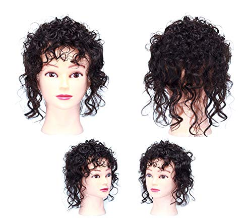 Women Hair Topper Human Hair Wavy Curly Clip in Crown Wiglet Hairpieces for Thinning Hair (Curly Black Brown)