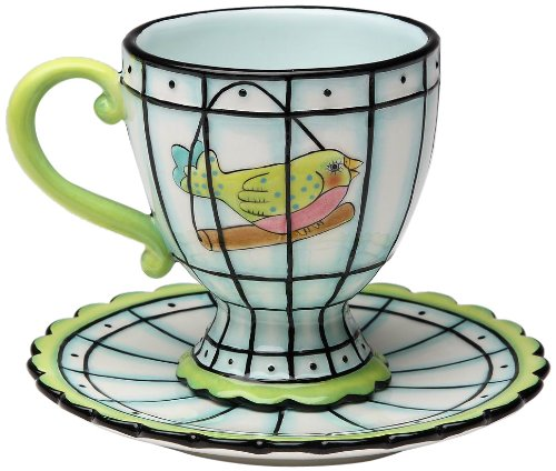 Appletree Design Flights of Fancy Bird Cup/Saucer Set, 3-1/2-Inch (Whimsical Tea Sets)