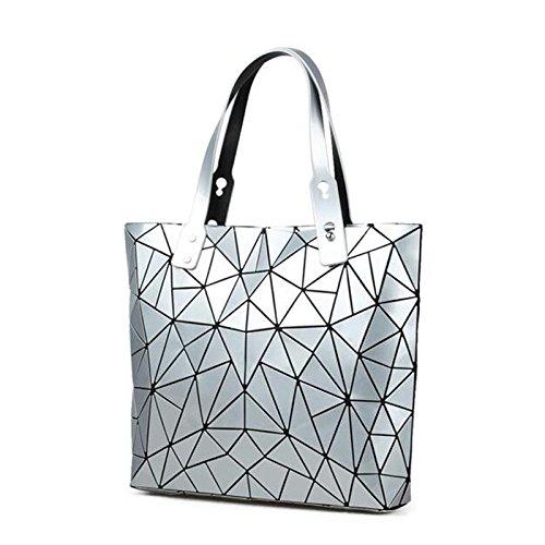 mano mujeres mujer geométrica de capacidad Bolso white1 la la A de Silver Bolso de Evening de del las bolso de Bao materiales Main de blandos hombro grande Z65w75Yxq