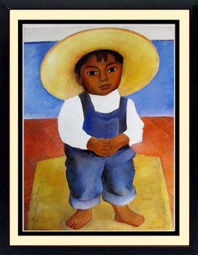 Rivera Art Poster Custom Framed Portrait of Boy Ignacio Sanchez - Flower Vendor Framed Print