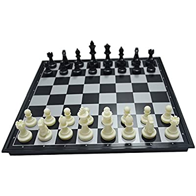13.9'' Black/White Chess Set Magnetic Chess Pieces Bottom Folding Chess Board HIPS Plastic Portable & Durable