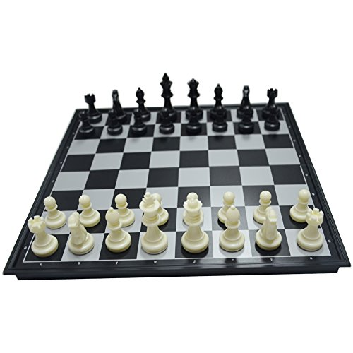 17.8'' Black & White Chess Set Magnetic Chess Pieces Bottom Folding Chess Board HIPS Plastic Portable & Durable
